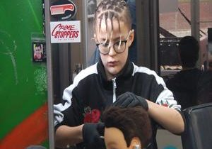 Budding 12 year old barber in Kennewick